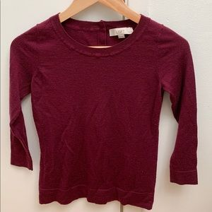 Loft Maroon Sweater with Button Detail